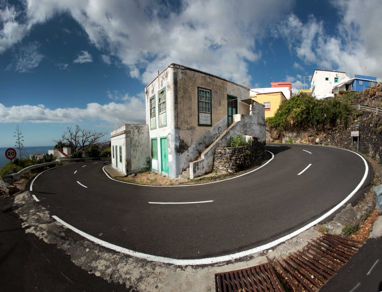 House on switch back, La Palma, Canary Islands, Spain