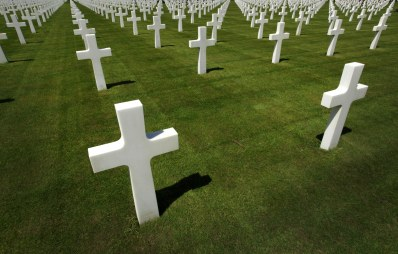 The crosses at Normandy American Cemetery and Memorial.