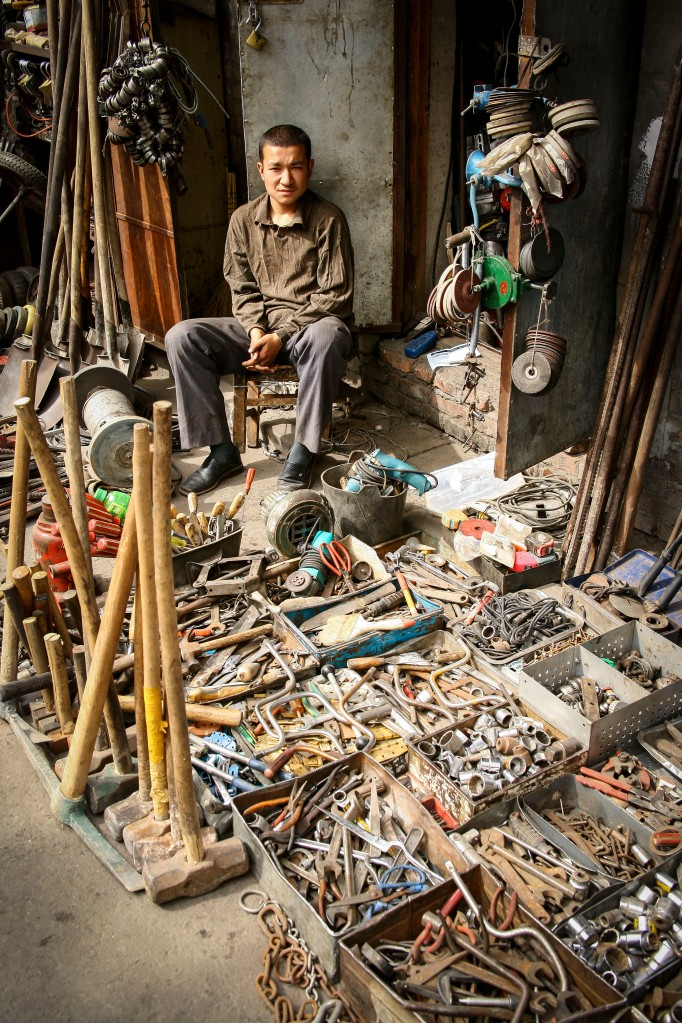 A used tool vendor in a Muslim Bazaar