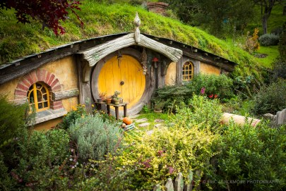 The movie set of Hobbiton in Matamata, New Zealand