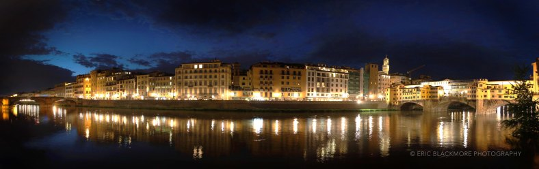 Florence and the Arno River at night