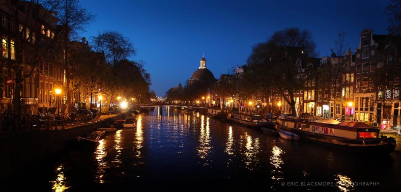Amsterdam canal in the blue hour