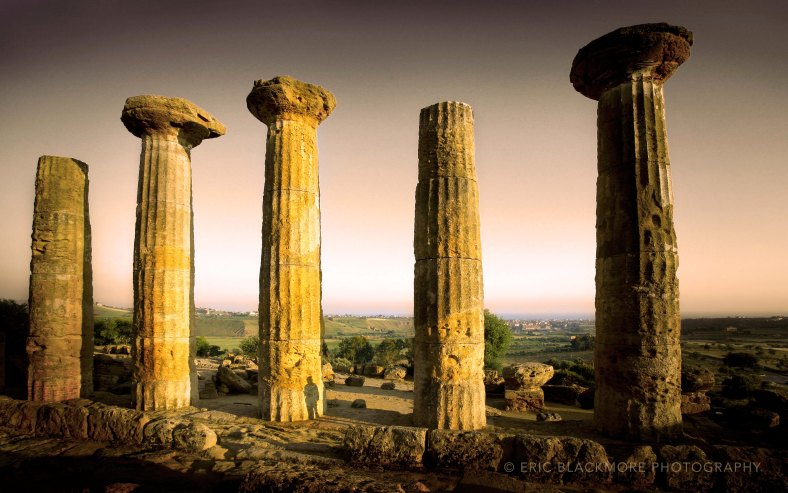 The ruins of Temple of Heracles in the Valle dei Templi in Agrigento, Italy