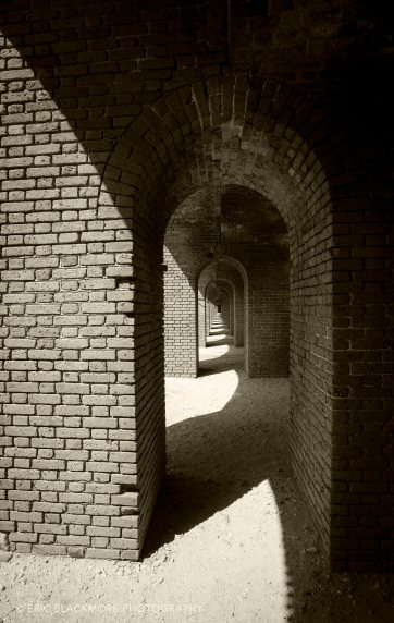 The barren and dusty brick hallways of Fort Jefferson in The Dry Tortugas.