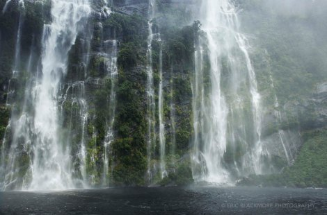 Waterfall in the rain in The Doubtfull Sound, South Island, New Zealand.