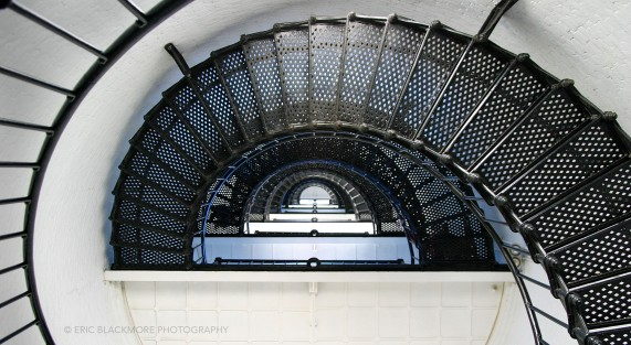 The interior winding metal stairs inside the St. Augustine Light House.